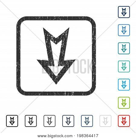 Arrow Down rubber watermark in some color versions.. Vector pictogram symbol inside rounded rectangle with grunge design and unclean texture. Stamp seal illustration, unclean sign.