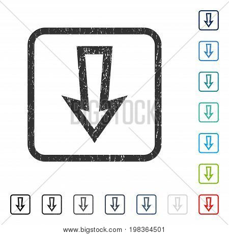 Arrow Down rubber watermark in some color versions.. Vector icon symbol inside rounded rectangle with grunge design and scratched texture. Stamp seal illustration, unclean sticker.