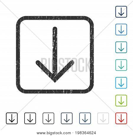 Arrow Down rubber watermark in some color versions.. Vector pictogram symbol inside rounded rectangular frame with grunge design and scratched texture. Stamp seal illustration, unclean sign.