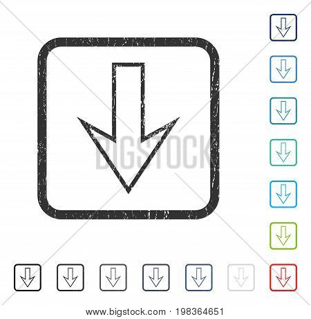 Arrow Down rubber watermark in some color versions.. Vector icon symbol inside rounded rectangular frame with grunge design and dust texture. Stamp seal illustration, unclean sign.