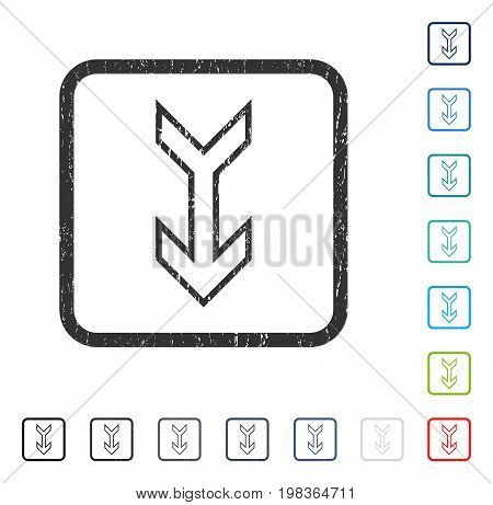 Arrow Down rubber watermark in some color versions.. Vector pictogram symbol inside rounded rectangle with grunge design and scratched texture. Stamp seal illustration, unclean sign.
