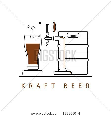A beer tap, a keg and a glass. Vector linear icons.