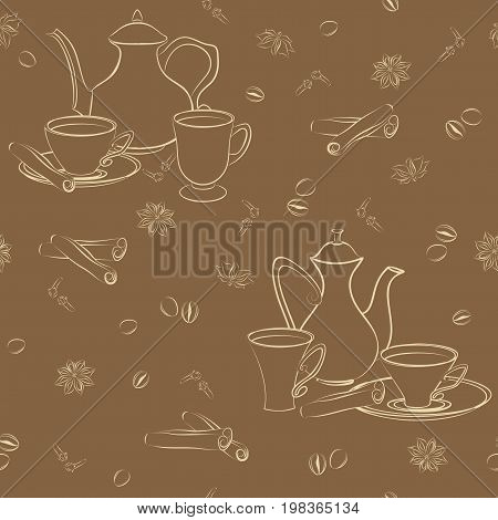 Seamless pattern with coffee pot, cups, cinnamon, coffee beans, anise and cloves.
