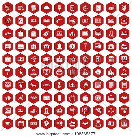 100 lending icons set in red hexagon isolated vector illustration