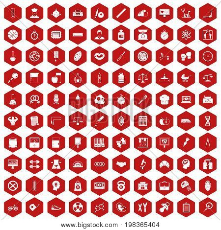 100 libra icons set in red hexagon isolated vector illustration