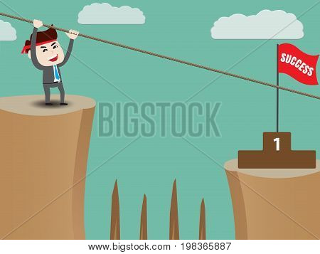 Businessman rope over cliff to podium, vector illustration