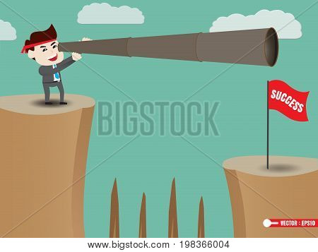 Businessman is looking beyond success, business concept, vector illustration