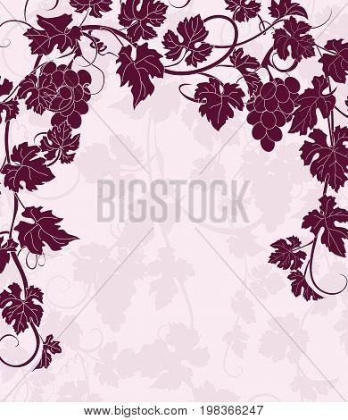 Vector background with vines in vintage style. Can be used for labels, invitations, greetings, posters, leaflets.