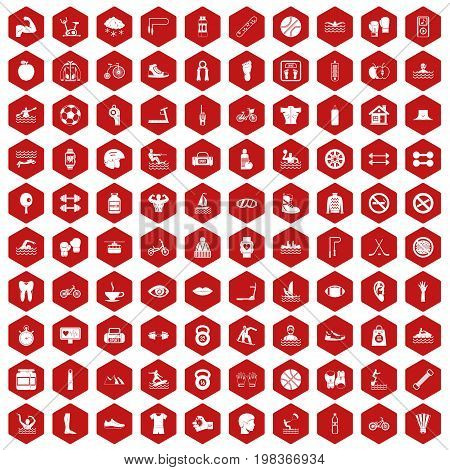 100 men health icons set in red hexagon isolated vector illustration