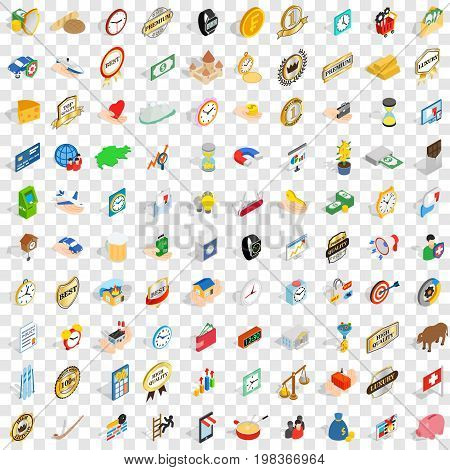 100 coin icons set in isometric 3d style for any design vector illustration