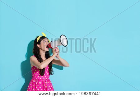 Happy Beautiful Woman Using Megaphone Speaking