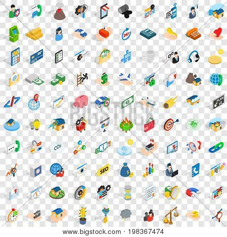 100 contact us icons set in isometric 3d style for any design vector illustration