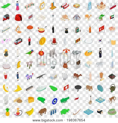 100 country icons set in isometric 3d style for any design vector illustration