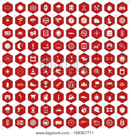 100 motorsport icons set in red hexagon isolated vector illustration
