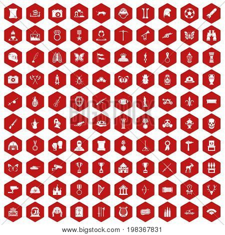 100 museum icons set in red hexagon isolated vector illustration