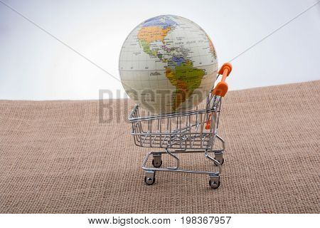 Globe With Shopping Trolley On Canvas