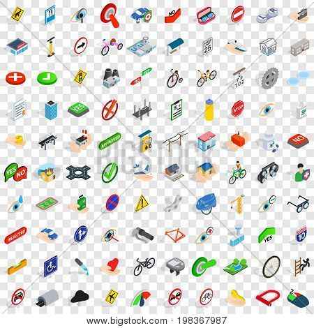 100 cross icons set in isometric 3d style for any design vector illustration