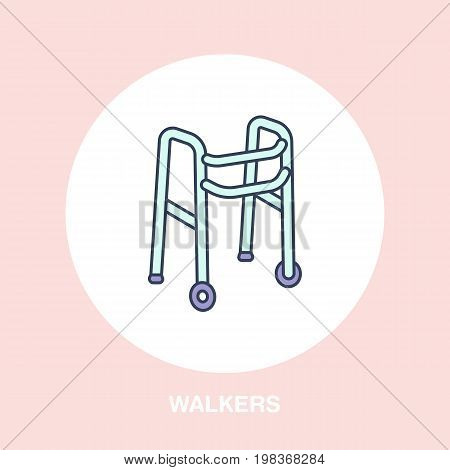 Walkers line icon. Vector logo for rehabilitation equipment store.