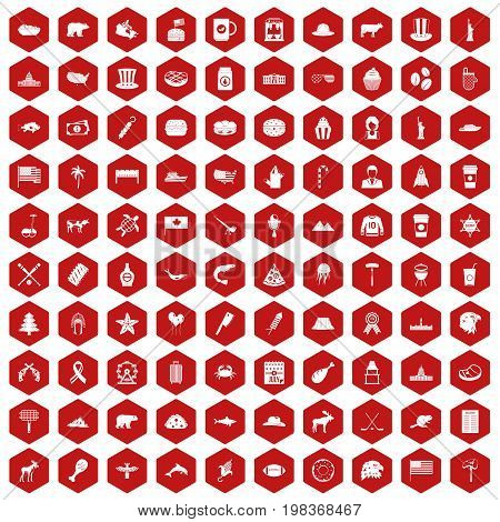 100 North America icons set in red hexagon isolated vector illustration