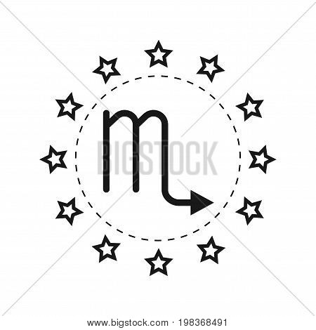 Scorpio. Sign of the zodiac. Flat symbol horoscope and predictions. Vector object for design