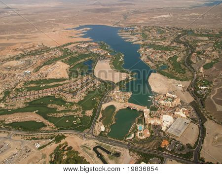 HENDERSON, NV. - APRIL 09: Aerial view of Lake Las Vegas, a man made 320 acre lake also features world-class resorts & is home to Celine Dion and many others. Taken on 4/9/07 over Clark County.
