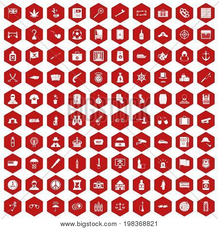 100 offence icons set in red hexagon isolated vector illustration