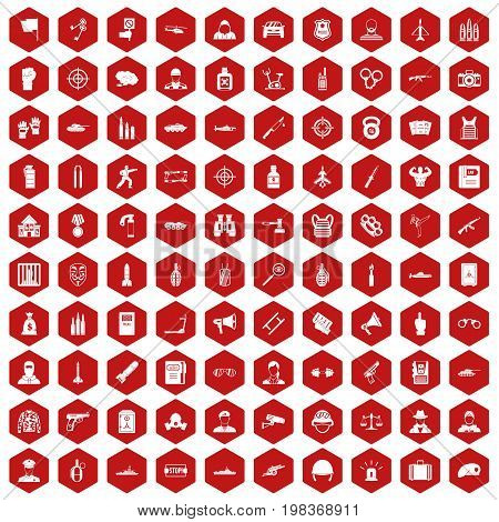 100 officer icons set in red hexagon isolated vector illustration