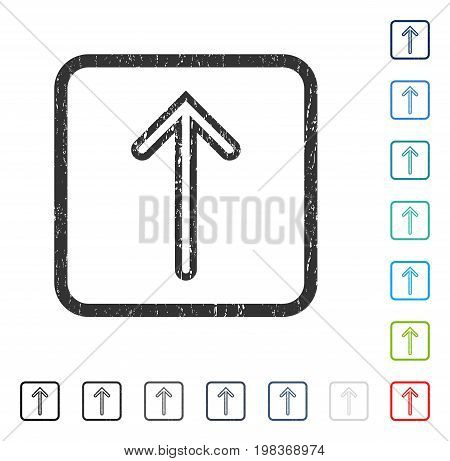 Arrow Up rubber watermark in some color versions.. Vector pictogram symbol inside rounded rectangle with grunge design and dirty texture. Stamp seal illustration, unclean sticker.