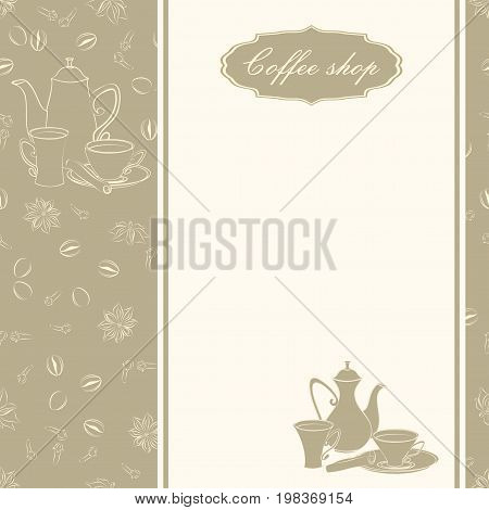Backgrounds with coffee pots, cups and spices.