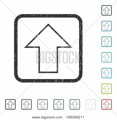 Arrow Up rubber watermark in some color versions.. Vector pictogram symbol inside rounded rectangle with grunge design and unclean texture. Stamp seal illustration, unclean sticker.