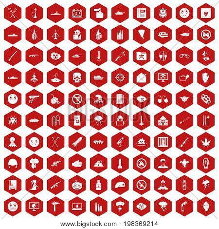 100 oppression icons set in red hexagon isolated vector illustration