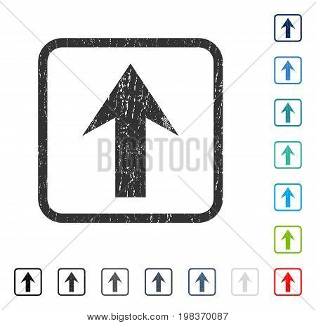 Arrow Up rubber watermark in some color versions.. Vector pictogram symbol inside rounded rectangle with grunge design and scratched texture. Stamp seal illustration, unclean sticker.