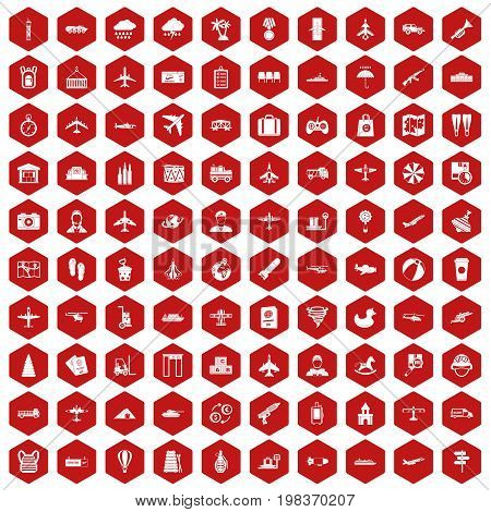 100 plane icons set in red hexagon isolated vector illustration