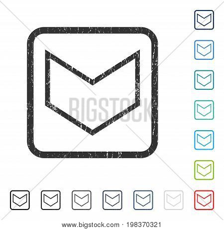 Arrowhead Down rubber watermark in some color versions.. Vector icon symbol inside rounded rectangle with grunge design and dust texture. Stamp seal illustration, unclean sign.