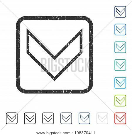 Arrowhead Down rubber watermark in some color versions.. Vector icon symbol inside rounded rectangle with grunge design and scratched texture. Stamp seal illustration, unclean sign.