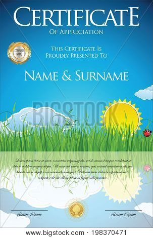 Colorful Ecology Retro Design Certificate Or Diploma Template.eps