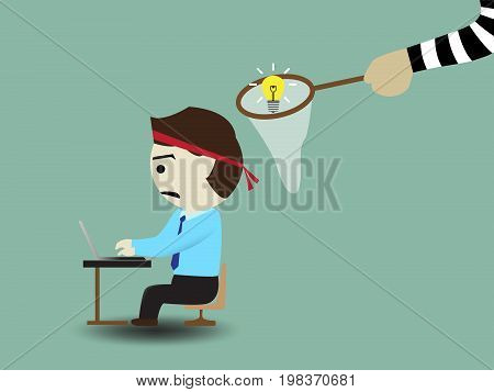 Criminals are stealing ideas, concept vector illustration