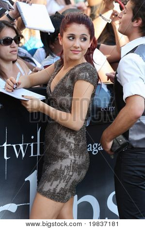 LOS ANGELES, CA. - JUNE 24: Ariana Grande attends The Twilight Saga Eclipse  Los Angeles premiere on June 24th, 2010 at The Nokia Theater in Los Angeles, Ca.