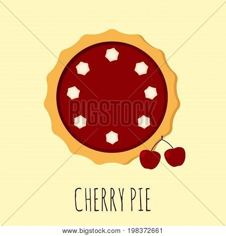 Homemade cherry pie. Flat vector illustration isolated on the background. Pie with cream. Top view. Could be used as icon or design element. Eps10