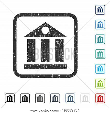 Bank Building rubber watermark in some color versions.. Vector icon symbol inside rounded rectangle with grunge design and scratched texture. Stamp seal illustration, unclean sign.