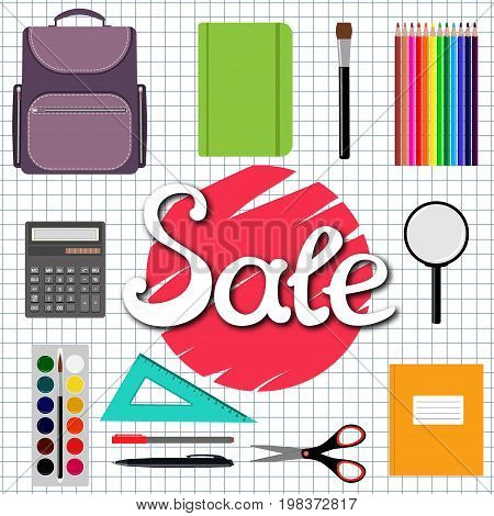 Sale Back to school design. Set of School supplies with Sale hand drawn lettering. Line polygon scissor notebook pen pencil eraser brush clip magnifier Vector illustration