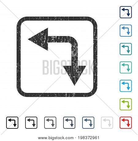 Bifurcation Arrow Left Down rubber watermark in some color versions.. Vector icon symbol inside rounded rectangle with grunge design and dust texture. Stamp seal illustration, unclean sticker.