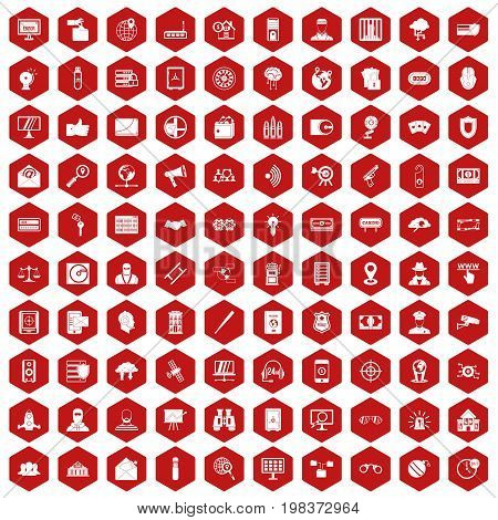 100 security icons set in red hexagon isolated vector illustration