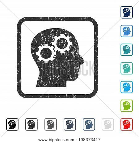 Brain Gears rubber watermark in some color versions.. Vector pictogram symbol inside rounded rectangular frame with grunge design and dirty texture. Stamp seal illustration, unclean sticker.