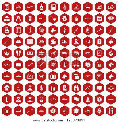 100 smuggling  icons set in red hexagon isolated vector illustration