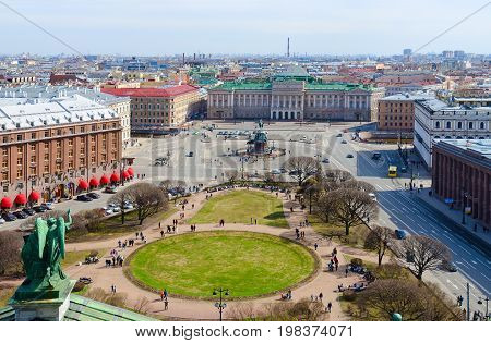 SAINT PETERSBURG RUSSIA - MAY 1 2017: View from colonnade of St. Isaac's Cathedral on St. Isaac's Square St. Petersburg Russia