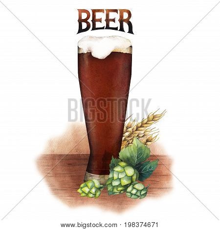 One watercolor glass of dark beer decorated with malts and hops over the wooden texture. Hand painted alcoholic beverages isolated on white background poster