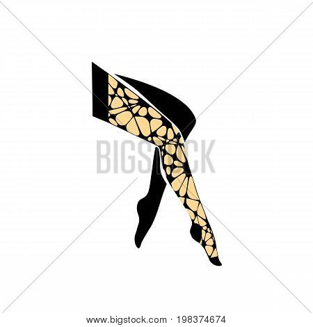 Girl legs in torn tights. Torn pantyhose vector illustration on white background
