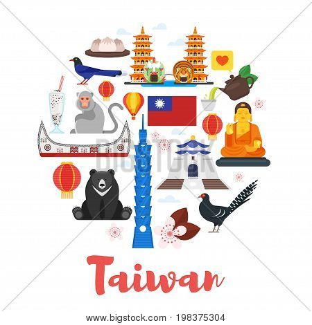 Vector flat style circle shape composition of Taiwan cultural symbols. Template for banner or poster for tourist. Isolated on white background