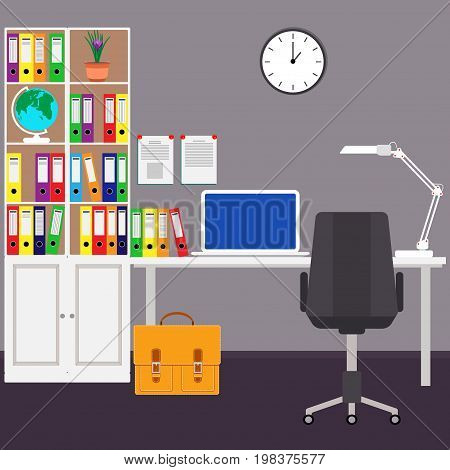The home workplace of the businessman Desk laptop filing Cabinet Desk lamp chair wall clock a globe and a portfolio. Vector illustration in flat style